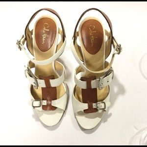 Cole Haan Gia White & Brown Sandals, Size 9 1/2
